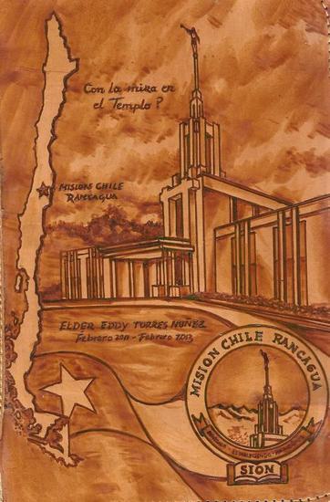 Templo Logo y Mapa Huecograbado