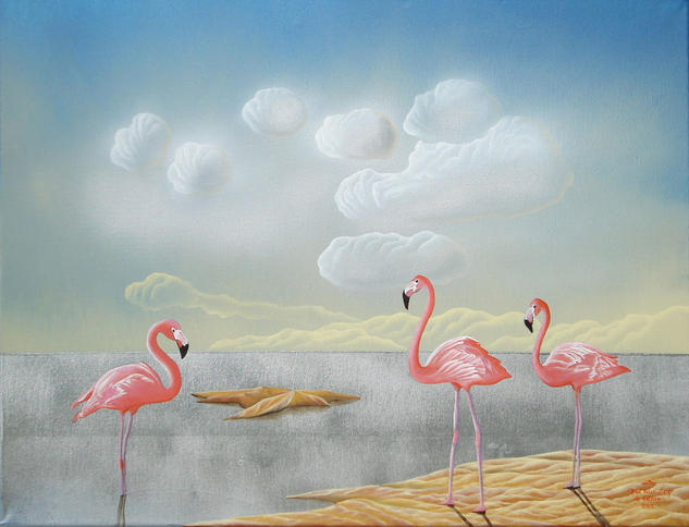 Rosa Flamingo Lienzo Óleo Paisaje