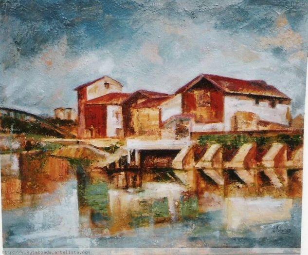 Casas de la ria Óleo Lienzo Paisaje