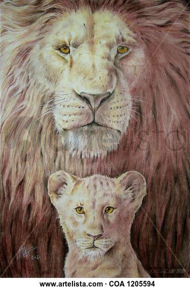 el rey león Técnica Mixta