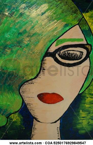 Green woman Lienzo Acrílico Retrato