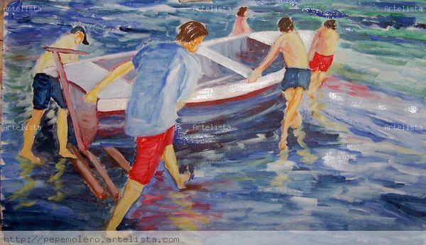 echando la barca al mar Acrílico Lienzo Marina