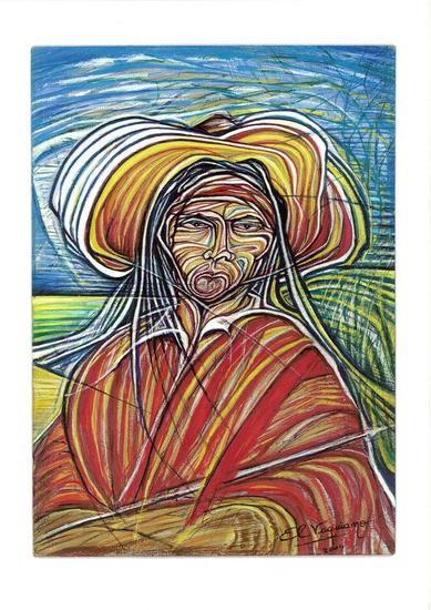 Indio salteño Retrato Cartulina Gouache