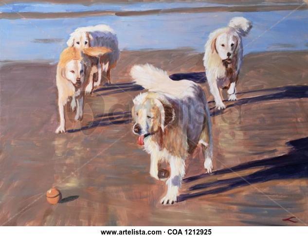 Dogs Animales Óleo Lienzo