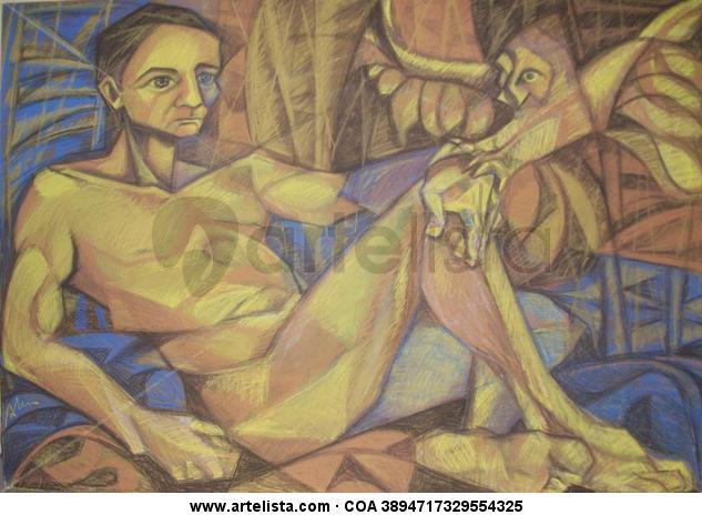 s/t Panel Pastel Figure Painting