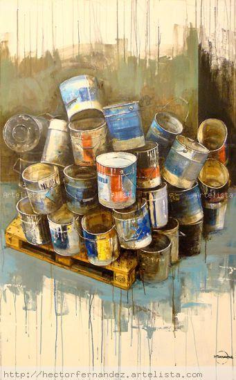 bodegon con latas de pintura( obra calle Beates) Óleo Lienzo Bodegones