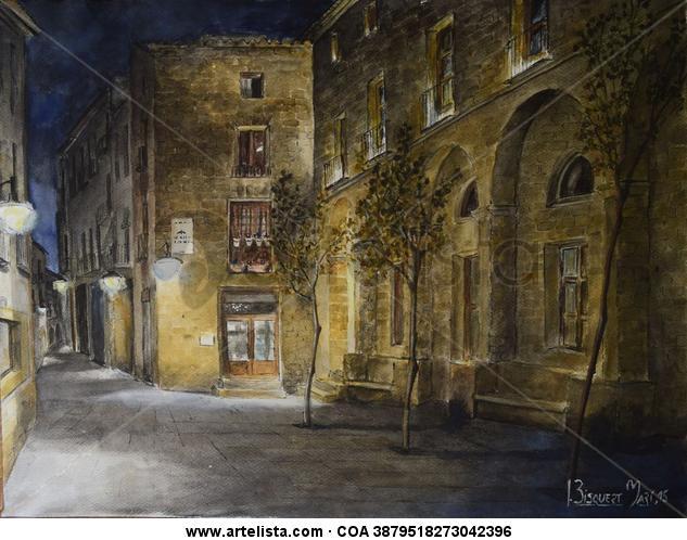 de noche en la plaça de baix