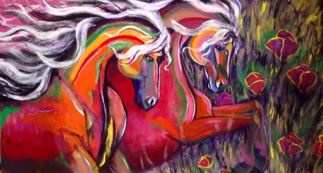 caballos magicos Lienzo Acrílico Animales