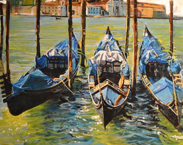 Tres Gondolas a plena sol Panel Oil Marine Painting
