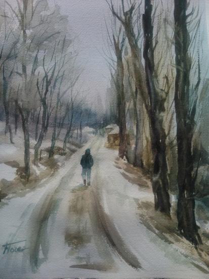 Paseo por la nieve Papel Acuarela Paisaje
