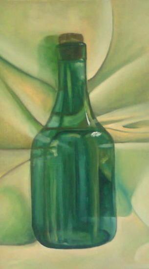 botella verde Lienzo Óleo Bodegones