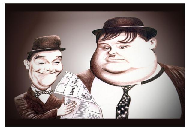 Laurel y Hardy Figura Lápiz (a color) Papel
