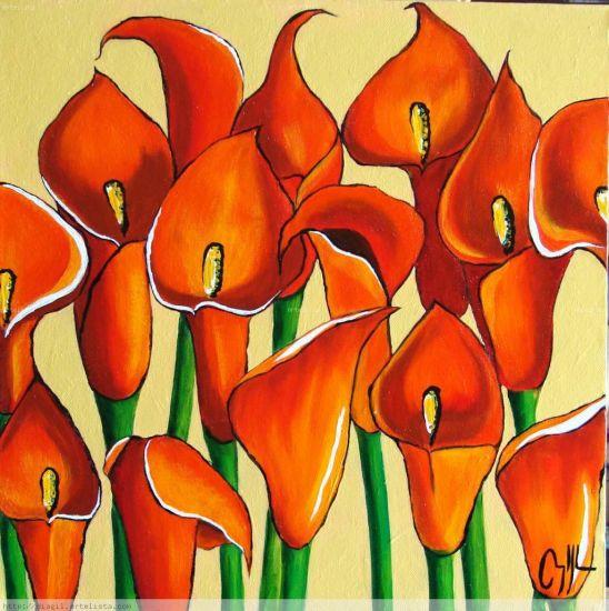 oidos Acrílico Lienzo Floral