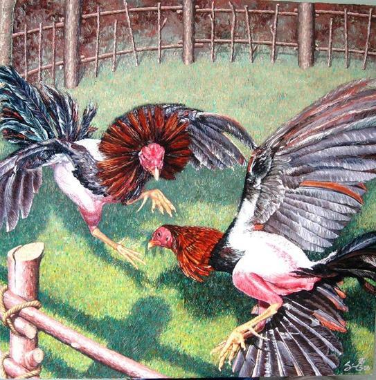 Pelea de gallos Lienzo Óleo Animales