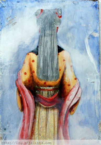 Mujer Oriental Óleo Lienzo Paisaje