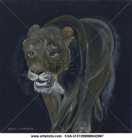 Lion female walking Animales Óleo Tela