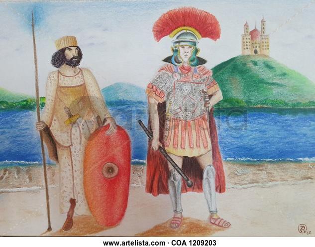 Romano y aliado  Figure Painting Pencil (coloured) Card