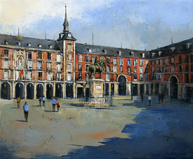 La Plaza Mayor de Madrid Lienzo Óleo Paisaje