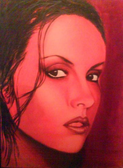 mujer rojo Lienzo Óleo Retrato
