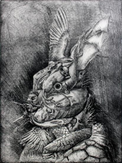 Retrato de conejo vestido Aguatinta
