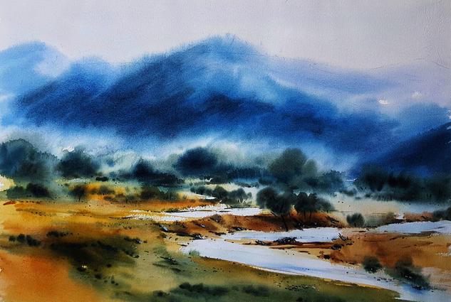 paisaje con rio Landscaping Watercolour Paper