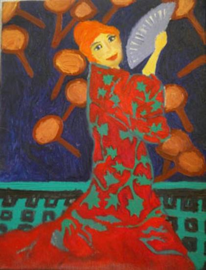 Sevillana Figure Painting Oil Canvas