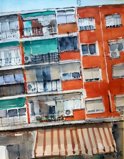 Madrid. Vidas Papel Acuarela Paisaje