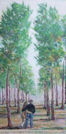 En el bosque Lienzo Acrílico Paisaje
