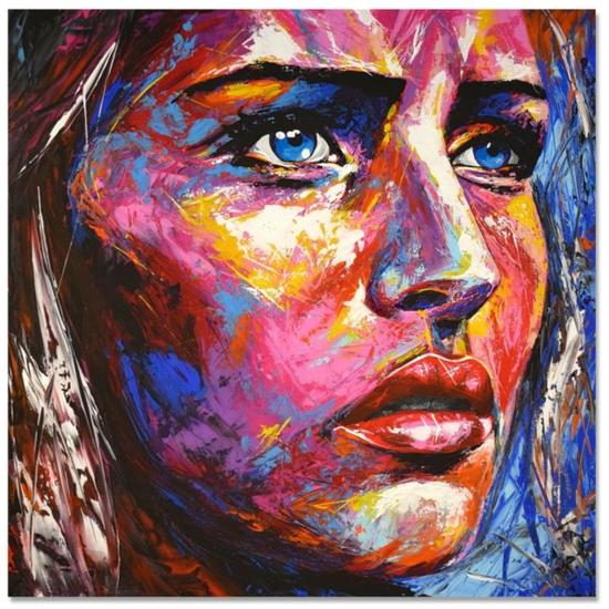 Original 882 Face portrait Canvas Acrylic Portrait