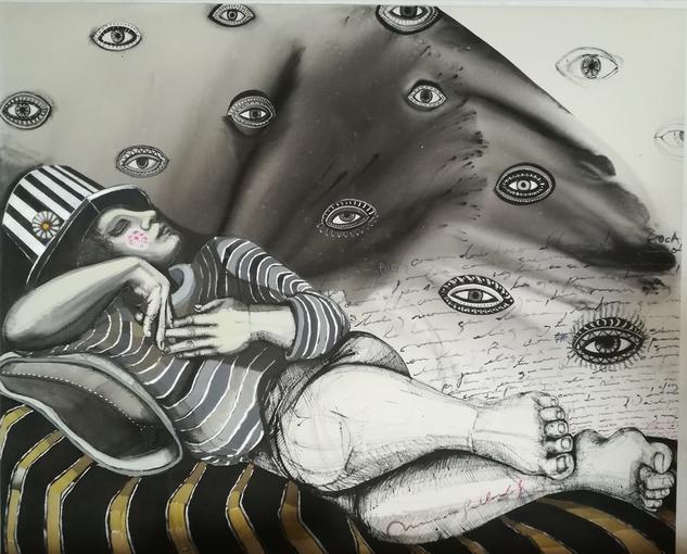 Soñar con los ojos abiertos. Figura Acrílico Lienzo