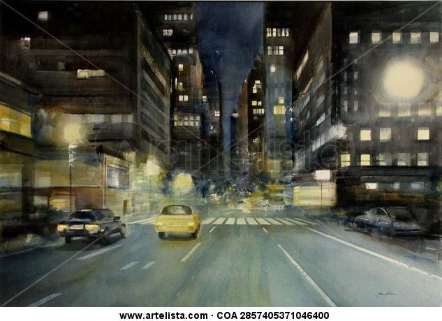 N.Y night - Acuarela / Papel - 100 X 70