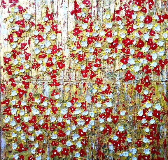 Texturas floridas Lienzo Media Mixta Floral