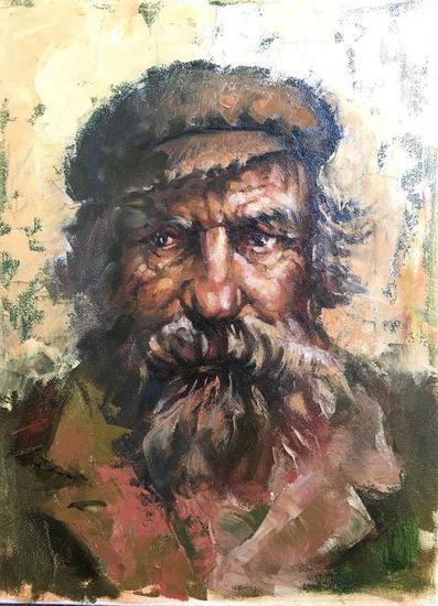 Hutzul viejo  Retrato Óleo Lienzo