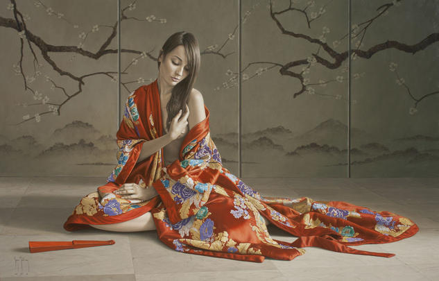 Kimono rojo I Figura Óleo Lienzo