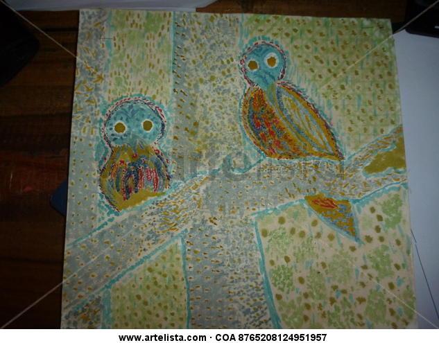 Aves imposibles. Cartulina Acuarela Animales