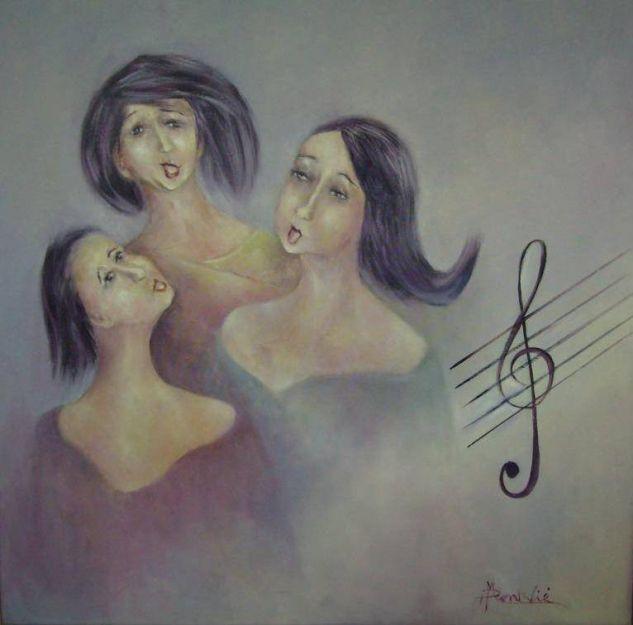 Cantores Óleo Lienzo Figura