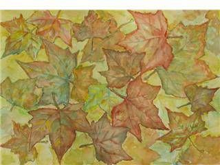 Hojas de otoño Papel Acuarela Floral