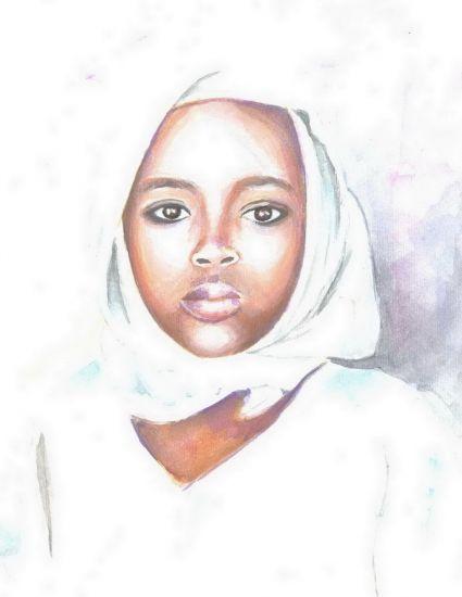 Nigerian girl Papel Acuarela Retrato