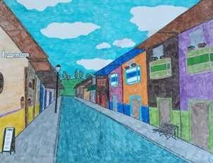 Calle llena de colores