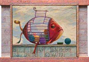 el pez bingo - (marco integrado, adornado)