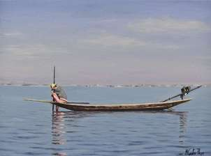Pescando en lago inle en myanmar (birmania) 1