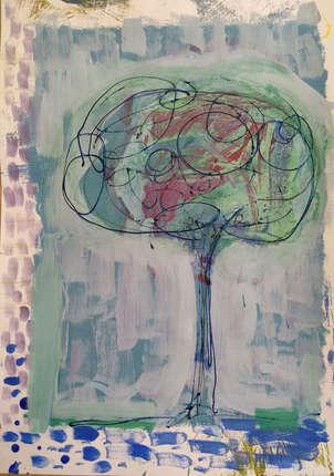 Sobre un fondo abstracto un árbol lineal