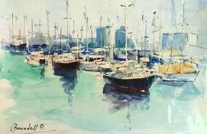 veleros  en el puerto de barcelona