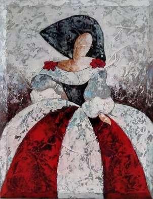 menina textura roja, blanca y negra