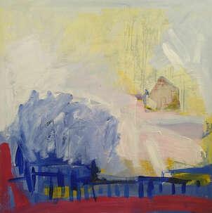 Una casa en un paisaje abstracto