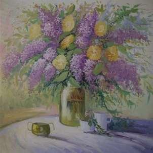 jarrón de lilas
