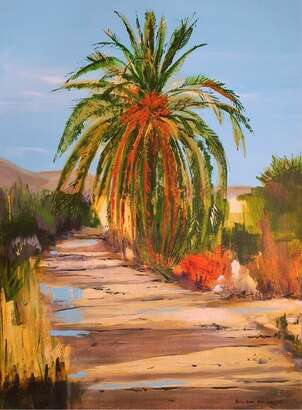 Palm tree and country road