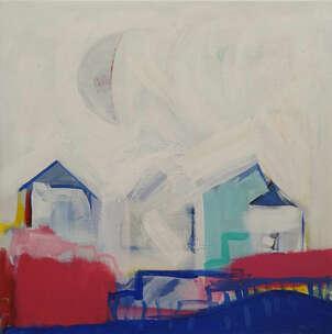 Luna, casas y ola azul