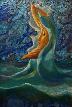 luna amarilla de la marea - ( listo para colgar )