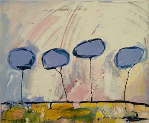 Cuatro árboles como nubes